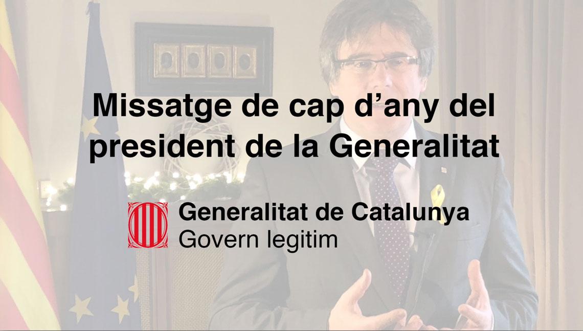 Missatge institucional de Cap d'Any del president de la Generalitat de Catalunya, Carles Puigdemont.